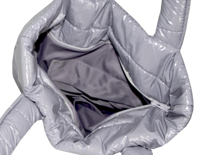 torba pikowana lakierowana srebrna
